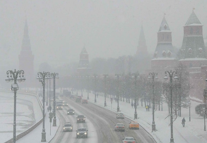 A photograph taken on Sunday shows the Kremlin and the Red Square during a heavy snowfall in Moscow.