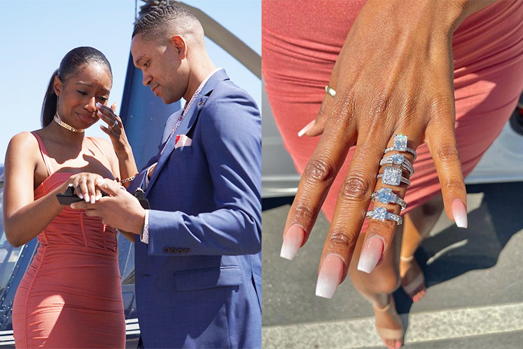 Couple praised for 'relationship goals' after boyfriend proposes with five  rings - GulfToday