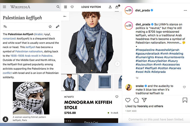 Louis Vuitton faces accusations of cultural appropriation over $705 scarf  inspired by Palestinian keffiyeh - GulfToday