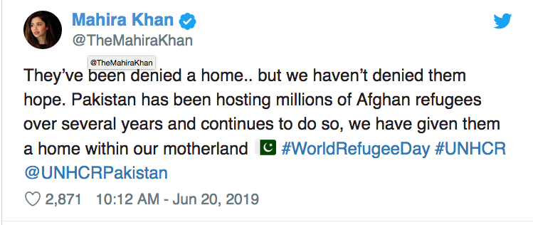 Mahira Khan lends support to Afghans living in Pakistan on World Refugee Day