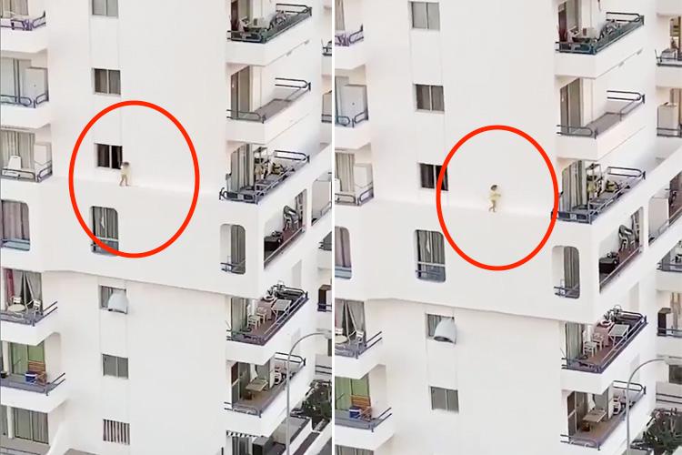 Tot seen walking along narrow ledge on fourth floor of building