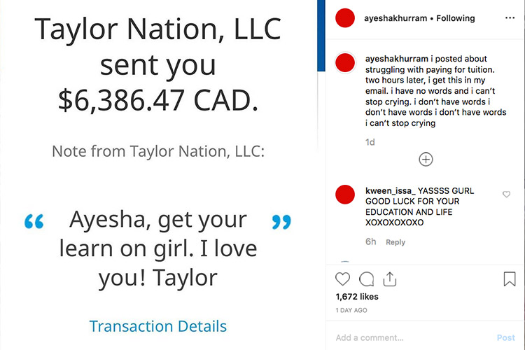 Taylor Swift Sends Pakistani Immigrant Student 6 386 For University Fees Gulftoday