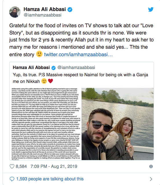 Pakistani actor Hamza confirms tying the knot with Naimal