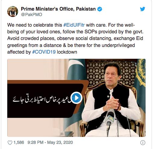 Imran Urges Pakistanis To Curtail Eid Celebrations, Says