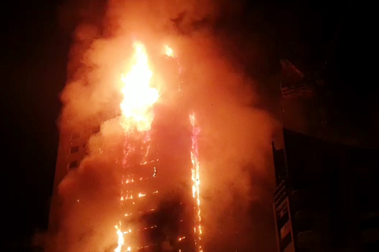 Seven injured in 48-storey fire in UAE