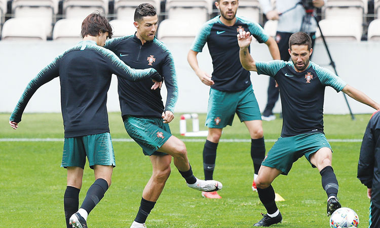 Image result for EURO 2020 QUALIFIERS  RONALDO AND JOAO FELIX TRAIN WITH TEAM MATES