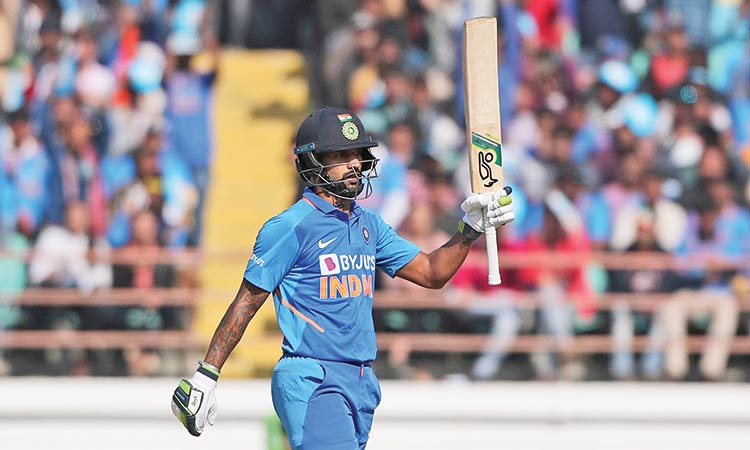Dhawan scored his 2nd consecutive fifty this series India